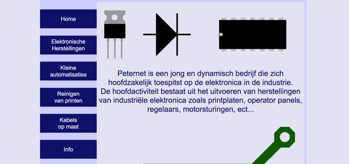 Peternet Electronics elektronica ontwerp website 2005